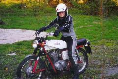 Evas first motorcycle, a 1972 MotoGuzzi Stornello 125cc. 1997.